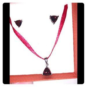 Garnet necklace & earrings